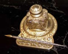 Ink: Late 1800s brass #inkwell with sterling, filigree #dip #pen.