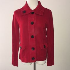 Jones New York button cardigan Red with large black buttons. Front buttoned pockets. Stitching down front and back very slimming. EUC. 100% cotton. Size medium. Jones New York Sweaters Cardigans