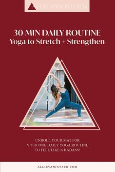 Searching for ONE DAILY YOGA ROUTINE to do on repeat, stretch, strengthen & cultivate consistency on the mat? This 30 min daily yoga routine builds strength in body, mind & soul to take off the mat, build routine & lead a wholesome, fulfilling life as your badass self! Pin now & take the first step to feeling empowered, centered and whole with me later! Allie, xx #30minyoga #dailyyogaroutine #allievanfossen Daily Yoga Routine, Yoga Routine For Beginners, Yoga Inversions, Vinyasa Yoga, Beginner Yoga Workout, Yoga Workouts, Yoga Arm Balance, 30 Minute Yoga, Free Yoga Classes