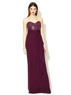 Badgley Mischka Strapless Sweetheart Embellished Bodice Gown