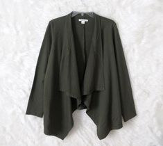 Womens COLDWATER CREEK Green Knit Open Draped Front Flyaway Cardigan Size Small #ColdwaterCreek #Cardigan #CareerCasual