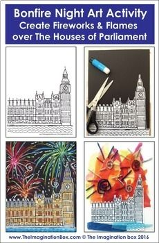 Bonfire Night Fireworks and Flames / Guy Fawkes Art Activity Bonfire Night Ks1, Bonfire Night Guy Fawkes, Bonfire Night Activities, Bonfire Night Crafts, Guy Fawkes Night, Firework Art Ks1, Fireworks Art, Art Therapy Activities, Art Activities For Kids
