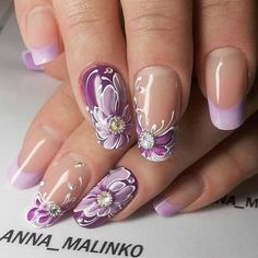Nails art french strass new ideas Purple Nail Art, Purple Nail Designs, Nail Art Designs, Fancy Nails, Trendy Nails, Cute Nails, Fabulous Nails, Gorgeous Nails, Nagellack Design