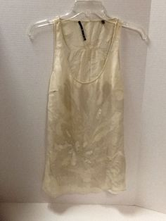 100% Silk Top Size S Sleeveless Beige Beaded Sheer Blouse #Unsure #Blouse #Casual