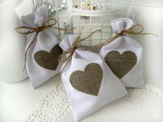 Set of 25 Wedding favor bags  White Rustic Linen by BrightBride, $65.00