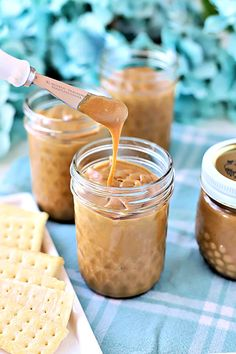 Creamy, sweet and perfect on crackers, muffins or toast, Amish peanut Butter church spread is easy to make and a great food gift to share. Bisquick Recipes, Amish Recipes, Baking Recipes, Dessert Recipes, Pudding Recipes, Snack Recipes, Coconut Banana Bread, Coconut Custard Pie, Toasted Coconut