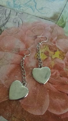 Silver Plated Heart Earrings Heart Earrings, Free Items, Dog Tags, Dog Tag Necklace, Silver Plate, Plating, Jewelry, Heart Pendants, Jewlery