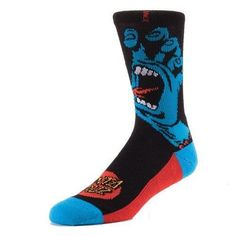 Stance/Santa Cruz Men's Screaming Hand Skateboard Shoe Socks - Black/Blue Pair #Stance