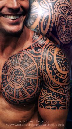 Mens Tribal Chest Tattoo