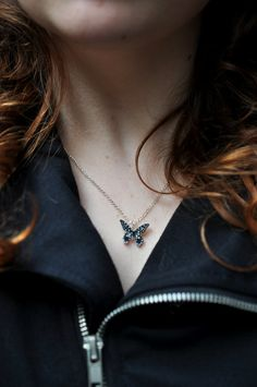 Tiny Butterfly Necklaces Hand Drawn Shrink by BattlekatsBoutique