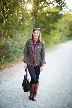 Love this jacket with the plaid! Plus cognac boots