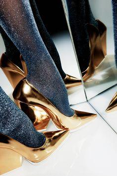 #Celine #gold #pumps