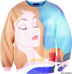 disney sweater, I would so wear this Arura is my fave princess