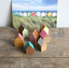 Miniature Wooden House Hand Painted Wood House by Jolicoeuretcie
