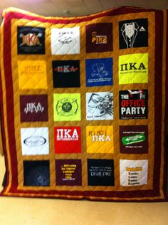 Quilt made from old fraternity t-shirts.