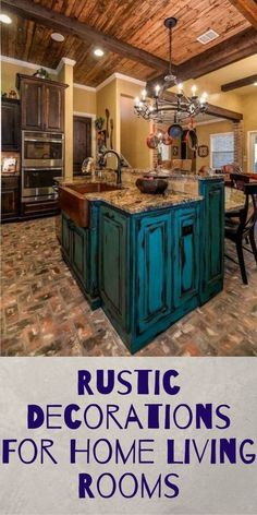 Rustic Decorations For Home Ideas Country Chic Ideas Rustic Decorations For Home Ideas Bathroom Rustic Kitchen Design, Farmhouse Style Kitchen, Kitchen Designs, Living Room Kitchen, Home Living Room, Western Decor, Rustic Decor, Country Chic, Kitchens