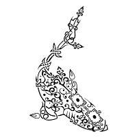 Arabesque shark tattoo