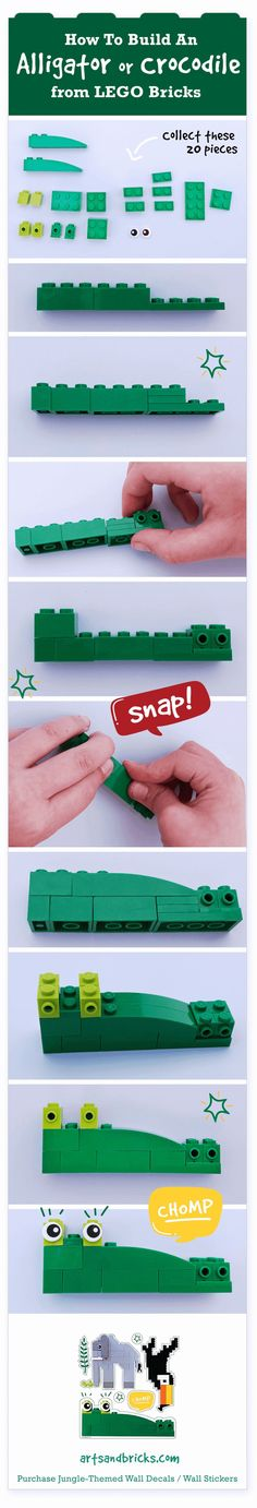 How to build an alligator or crocodile from Lego bricks, includes building instructions! Educational Activities For Toddlers, Lego Activities, Preschool Themes, Children Activities, Lego Basic, Lego Creative, Brick Art, Lego Display, Lego Animals