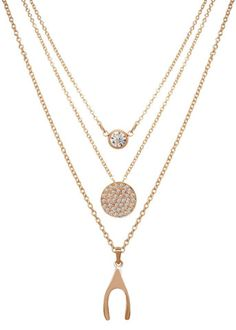 Wishbone Sparkling Disc Trio Necklace (3 Necklaces in 1)