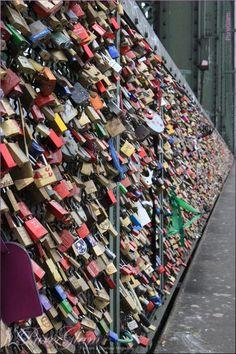 Hohenzollern-Bridge/Brücke with colorful locks - Cologne/Köln, Germany/Deutschland