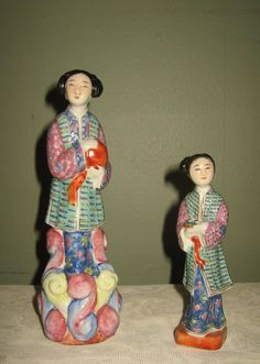 Antique Chinese Porcelain Famille Rose Figurine Statues #Unmarked
