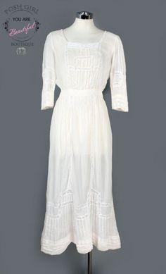 1970's San Francisco White Crochet Hippie BOHO Dress