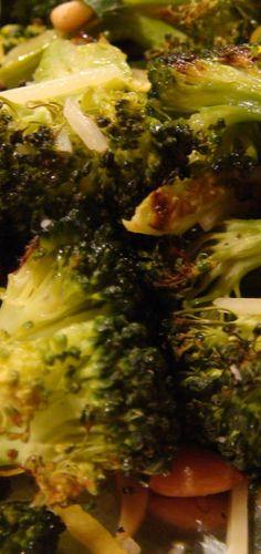 Roast/grill broccoli and mix with creamy garlic hummus. Yum!