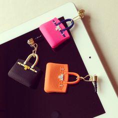 """Hermes Birkin"" inspired iPhone Plug Charm Keychain"
