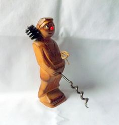 Vintage Rude Corkscrew Handle in the shape of a chimney sweep, hand carved by CollectablesClearout on Etsy