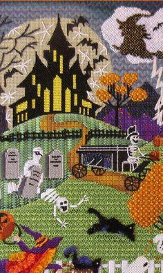 Halloween needlepoint canvas, designer unknown