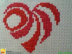 Haft krzyżykowy - serce na kartkę