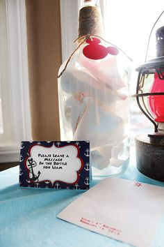 Nautical Shower - Guests leave a Message in the Bottle