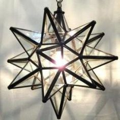 Moravian Star Lamp from Constantine. Clear Glass with bronze frame. We'll use this in the guest room. Entryway Lighting, Porch Lighting, Home Lighting, Pendant Lighting, Lighting Ideas, Coastal Lighting, Light Pendant, Pendant Lamp, Lamp Light