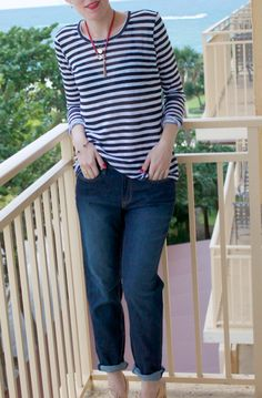 The perfect weekend look: boyfriend jeans and a striped tee.