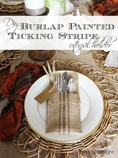 DIY Tutorial 15 Craft Tutorials For Your Thanksgiving Dinner Table / DIY Burlap Painted Ticking Stripe Utensil Holder - Bead&Cord Burlap Projects, Burlap Crafts, Diy Projects, Cutlery Holder, Thanksgiving Diy, Thanksgiving Tablescapes, Ticking Stripe, Design Blog, Design Trends