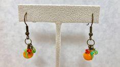 Orange Fruit Green Lampwork Glass Dangle Earrings Doodaba Orange Fruit, Green And Orange, Orange Earrings, Orange Crystals, Glass Earrings, Handmade Items, Handmade Gifts, Vintage Pink, Crystal Beads