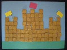 Cereal Castle - Glue cereal to construction paper, toothpick flags on top - cool idea for construction Fairy Tale Crafts, Fairy Tale Theme, Vbs Crafts, Preschool Activities, Preschool Worksheets, Construction Theme, Construction Paper, Castle Crafts, Fairy Tales Unit