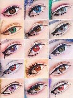 Anime Eye Makeup, Anime Cosplay Makeup, Cosplay Contacts, Edgy Makeup, Crazy Makeup, Cute Makeup, Makeup Inspo, Makeup Art, Makeup Inspiration