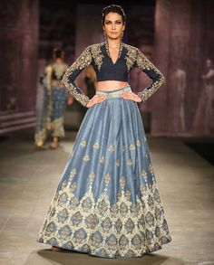 Dark Blue Lengha Set with Embroidered Motifs
