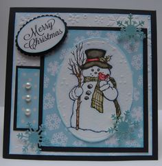 Stamped with Stampendous Country Snowman and water colord with Tim Hotlz Distress Markers