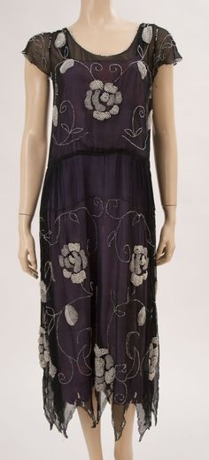 1920's blue silk chiffon dress with beaded floral design.