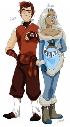 Human versions of Pabu and Naga from Legend of Korra. no wonder they like each other