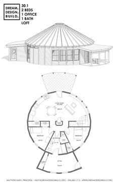 Yurt design for construction by Matthew Smith. These designs include bedrooms, bathrooms, office and lofts. Cob House Plans, Round House Plans, Dream House Plans, Modern House Plans, House Floor Plans, Hut House, Dome House, Silo House, Hexagon House