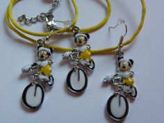 Dangle Mickey Mouse Earrings & Necklace Set  159 by ritascraftsandmore on Etsy