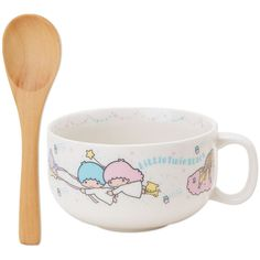 Little Twin Stars Kiki Lala Soup Mug Cup with Wooden Spoon Night Sky... ($599) ❤ liked on Polyvore featuring home, kitchen & dining, drinkware, wood mug, soup cup, wooden cup, wooden mug and soup mug