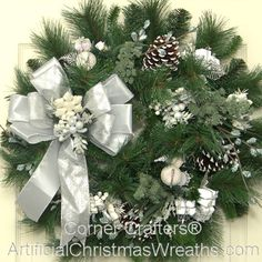 Stunning green and white wreath - would look great against my white door!