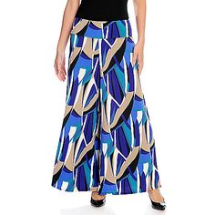 728-298 - Kate & Mallory® Stretch Knit Solid or Printed Elastic Waist Palazzo Pants