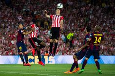 Aritz Aduriz of Athletic Club tries to head the ball during the Copa del Rey Final between Athletic Club and FC Barcelona at Camp Nou on May 30, 2015 in Barcelona, Catalonia.