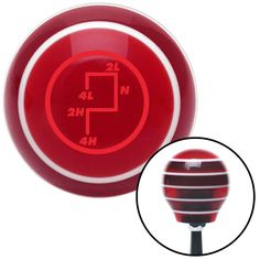 Red Transfer Case 6 Red Stripe Shift Knob with M16 x 15 Insert