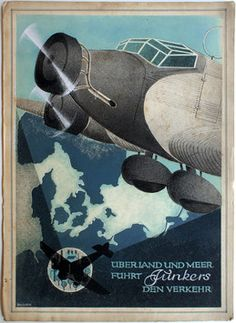 Original vintage poster art work of the day: 1930s' aeroplane ad